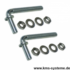 1Paar Toraufhängungen M12 x 135 mm für Torpfosten 76 mm
