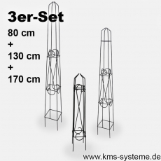 3er Set Obelisk Orelia quadratisch schwarz pulverbeschichtet