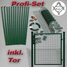 Profi-Zaunset Rundpfosten grün Maschung 60X60X2,4mm inkl. Tor