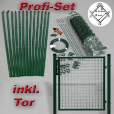 Profi-Zaunset Rundpfosten grün Maschung 50X50X2,8mm inkl. Tor