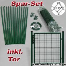 Spar-Zaunset Rundpfosten grün Maschung 60X60X2,4mm inkl. Tor