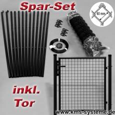 Spar-Zaunset Rundpfosten schwarz Maschung 60X60X2,8mm inkl. Tor