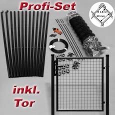 Profi-Zaunset Rundpfosten schwarz Maschung 60X60X2,8mm inkl. Tor