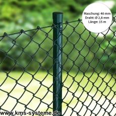Maschendraht 15m Rolle grün Maschung 40x40mm, 2,8mm Drahtstärke