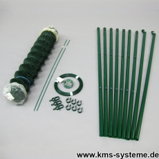 Spar-Zaunset Rundpfosten/Maschendraht grün 60X60X2,8mm 2,00X15m