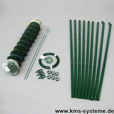 Spar-Zaunset Rundpfosten Maschendraht grün 60X60X2,8mm 0,80X15m