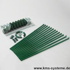 Spar-Zaunset Rundpfosten Maschendraht grün 60X60X2,4mm 0,80X25m