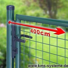 Gartentor zinkphosphatiert + grün für Maschendrahtzaun 4m Breite