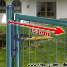 Gartentor feuerverzinkt + grün für Maschendrahtzaun 1,50m Breite
