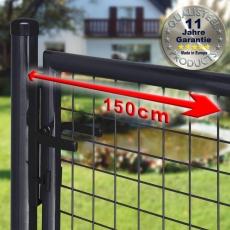Gartentor zinkphosphatiert + schwarz für Maschendrahtzaun 1,50m Breite
