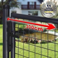 Gartentor zinkphosphatiert + schwarz für Maschendrahtzaun 3m Breite
