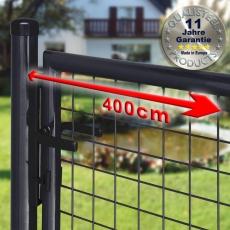 Gartentor zinkphosphatiert + schwarz für Maschendrahtzaun 4m Breite