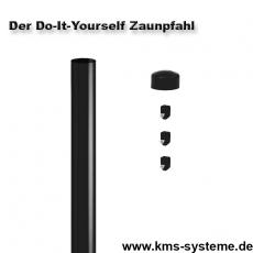 Do-It-Yourself Zaunpfahl verzinkt + schwarz Ø42