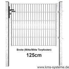 Industrie Doppelstabmatten-Tor feuerverzinkt 1,25m Breite offener Rahmen