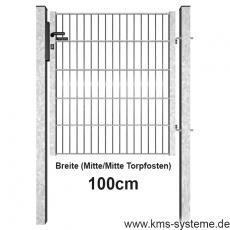 Industrie Doppelstabmatten-Tor feuerverzinkt 1m Breite offener Rahmen
