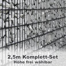 Gabionenzaun-Set 6-5-6 anthrazit 2,5m