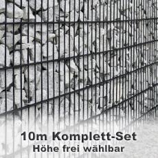 Gabionenzaun-Set 6-5-6 anthrazit 10m