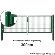 Doppelstab-Doppeltor EASY-B-EASY Quadratpfosten mit Schiene pulverbeschichtet 3m Breite