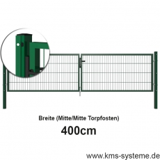 Doppelstab-Doppeltor EASY-B-EASY Quadratpfosten mit Schiene pulverbeschichtet 4m Breite