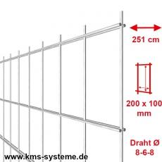 Industrie-Doppelstab-Zaunmatte 8-6-8 im Tauchbad feuerverzinkt 100er Teilung