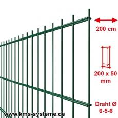 SECURA Doppelstab-Zaunmatte 6-5-6 verzinkt + pulverbeschichtet grün RAL6005