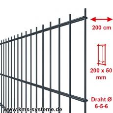 SECURA Doppelstab-Zaunmatte 6-5-6 verzinkt + pulverbeschichtet anthrazitgrau RAL7016