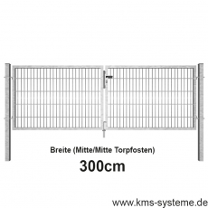 SECURA Doppelstab-Doppeltor 6-5-6 feuerverzinkt 3m Breite